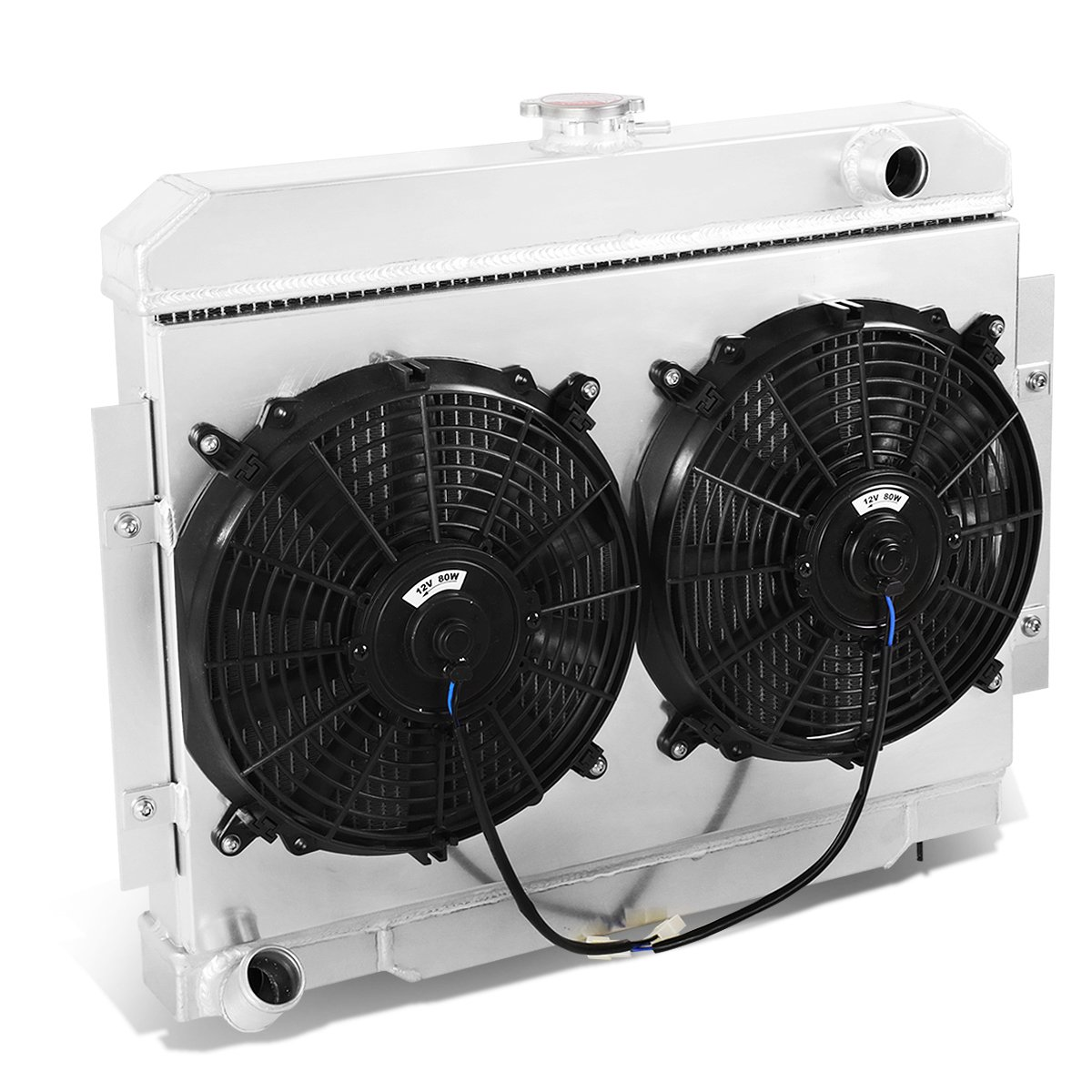 DNA Motoring RA+FS-JEEP73-3 3-Row Aluminum Radiator with Fan Shroud