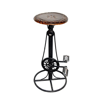 Acme Furniture Production Fixed Height Wooden and Wrought Iron Bar Stool Chair