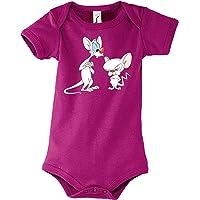 TRVPPY Baby Jungen & Mädchen Kurzarm Body Strampler Modell Pinky Brain, Größe 3-24 Monate in vielen Farben