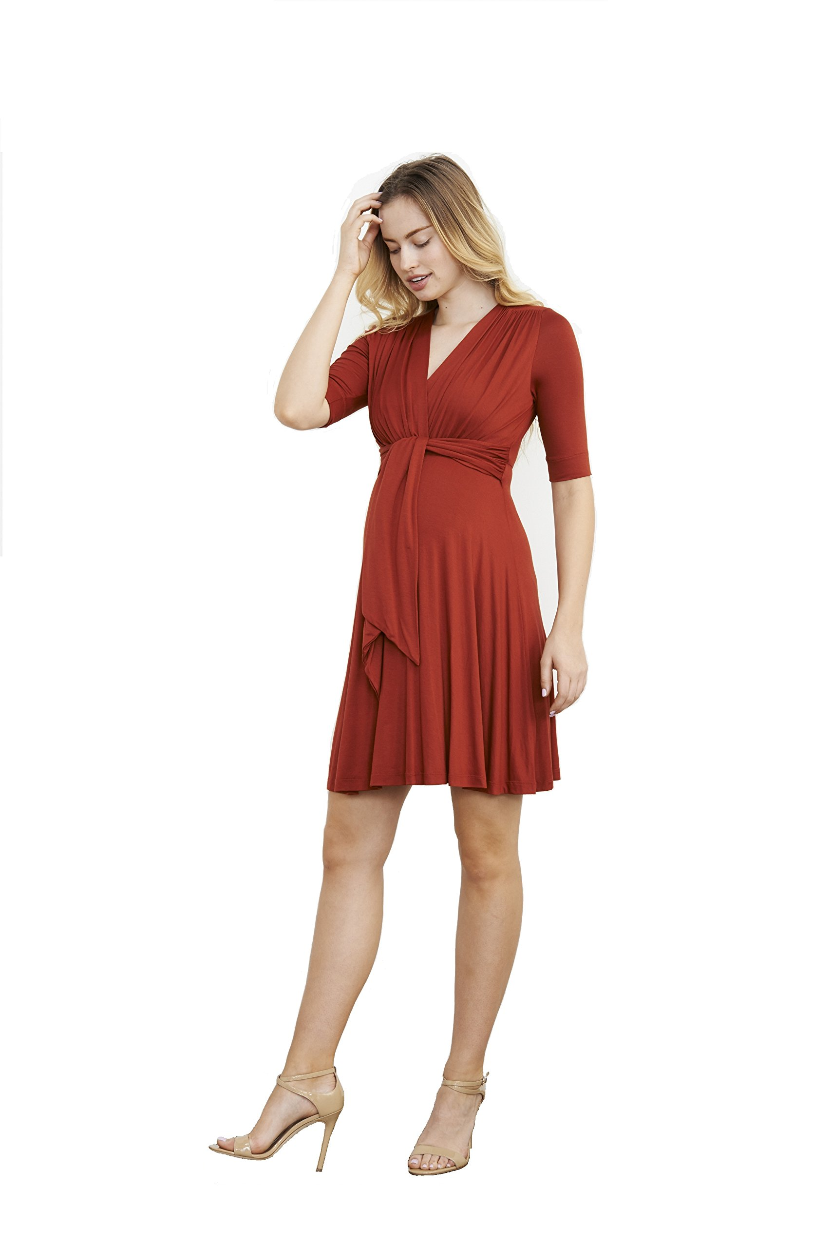 Maternal America Women's Maternity Mini Front Tie Nursing Dress, Rust, Medium by Maternal America
