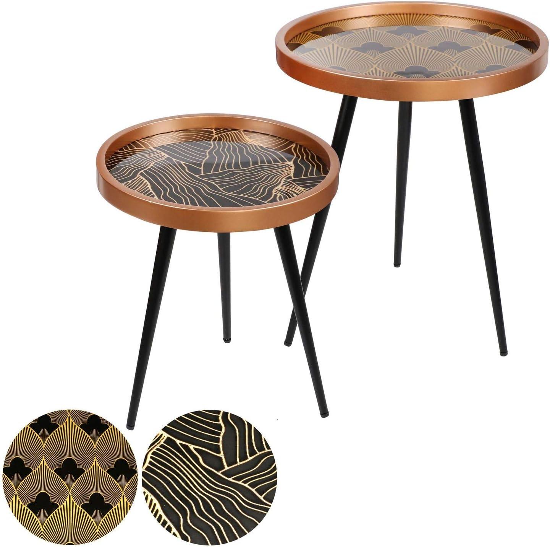 color negro y dorado Urban living Juego de 2 mesas auxiliares dise/ño Art Deco