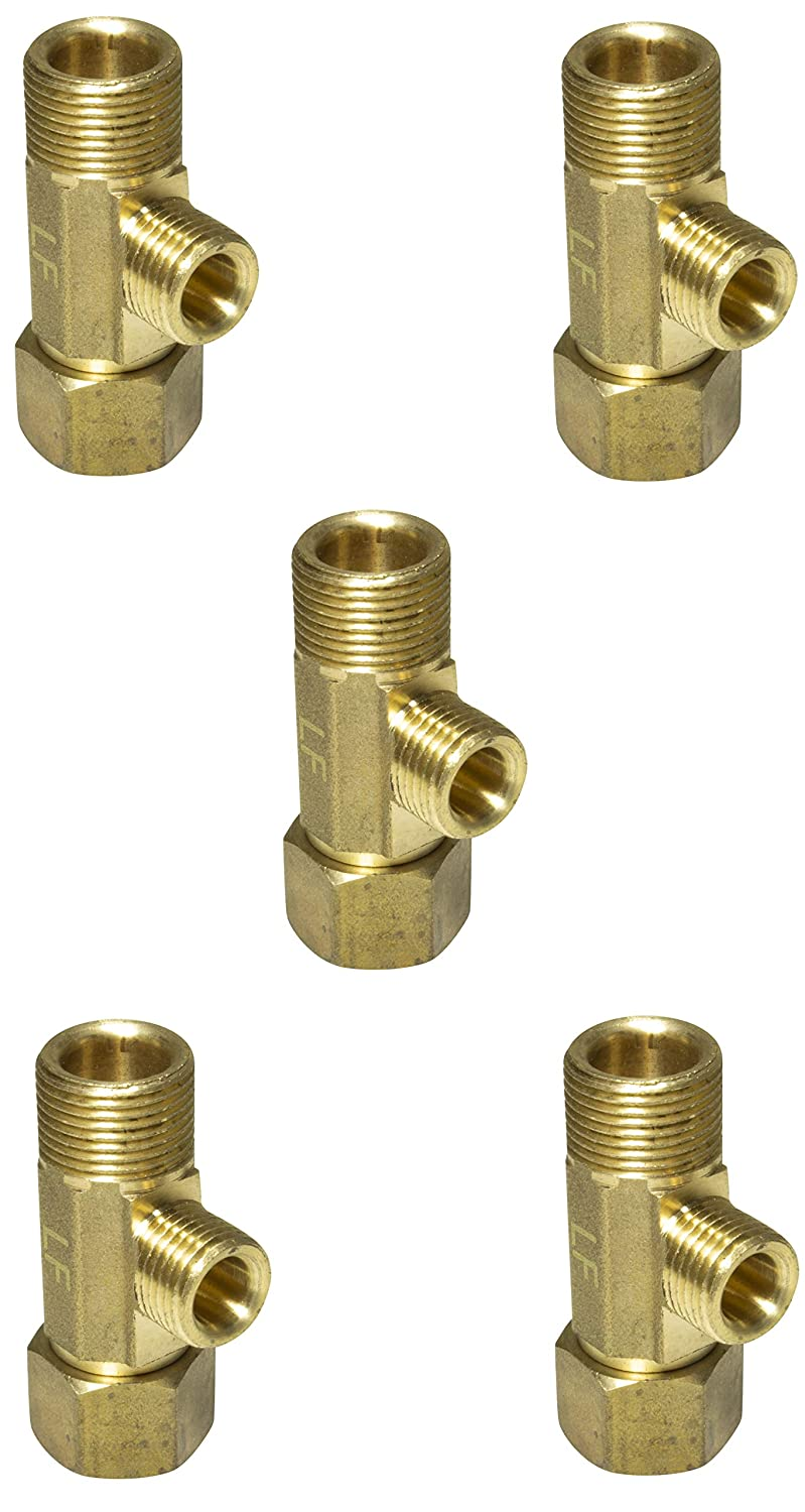 """Lead Free Brass Angle Stop Add-A-Tee Valve 3/8"""" Compression Inlet x 3/8"""" Outlet x 1/4"""" Outlet Leak Proof Easy Connect Tee (5 Pack)"""