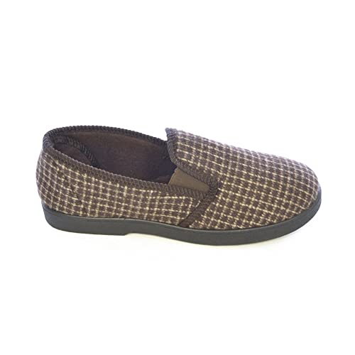 Amazon.com | Universal Textiles Mens Twin Gusset Window Pane Check Slippers (13 US) (Brown) | Slippers