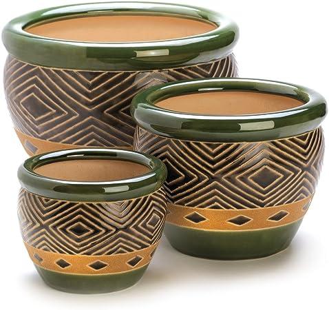 Amazon Com Gifts Decor Ceramic Jade Garden Planters Flower Plant Pot Set 3 Piece Home Kitchen