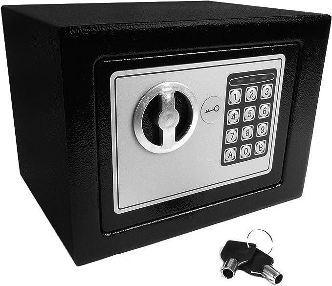 Hyfive Caja Fuerte de Seguridad electrónica con Teclado y Cerradura para Llave, Tornillos de Anclaje y Pilas Incluidas: Amazon.es: Bricolaje y herramientas