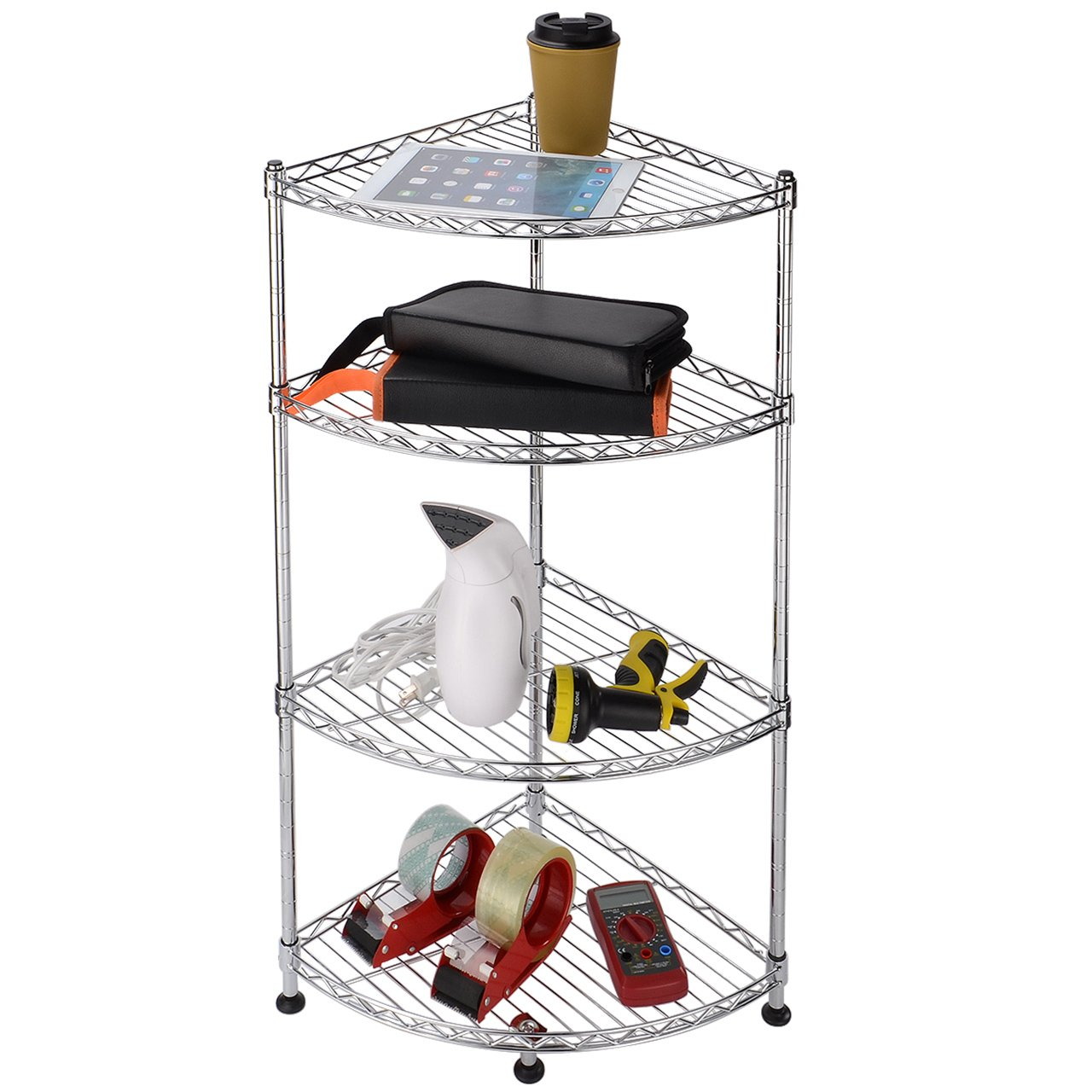 Adjustable Rack Unit SortWise/™ Multipurpose Corner Wire Shelf Heavy Duty Storage Shelf 4 Tier