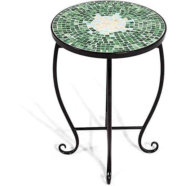 Amazon Com Giantex Mosaic Round Side Accent Table Patio Plant