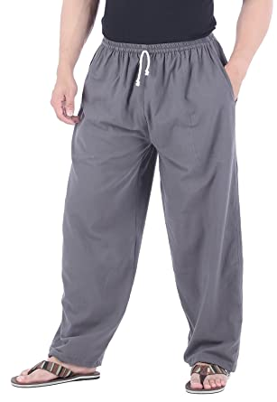 81a3076a32 CandyHusky Men Casual Lounge Jogging Workout Yoga Pants Elastic Waist  Drawstring (Small, Grey)