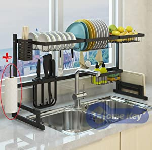 "Over Sink(33.7"") Dish Drying Rack, Kitchen Drainer Counter Organizer Supplies Shelf Storage Stainless Steel Display Utensil Holder Space Saver.(Sink size ≤ 33.7 inch, Black)"