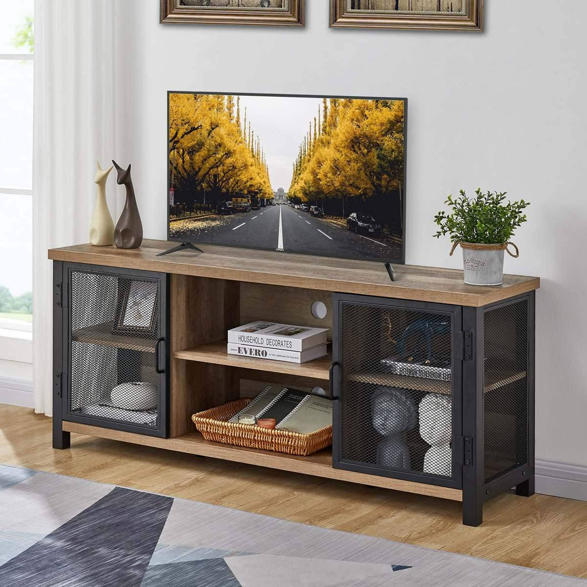FATORRI Rustic TV Stand for TVs up to 60 Inch, Industrial Entertainment Center for 55 Inch TV, Wood TV Console and TV Cabinet for Living Room (55 Inch, Rustic Oak)