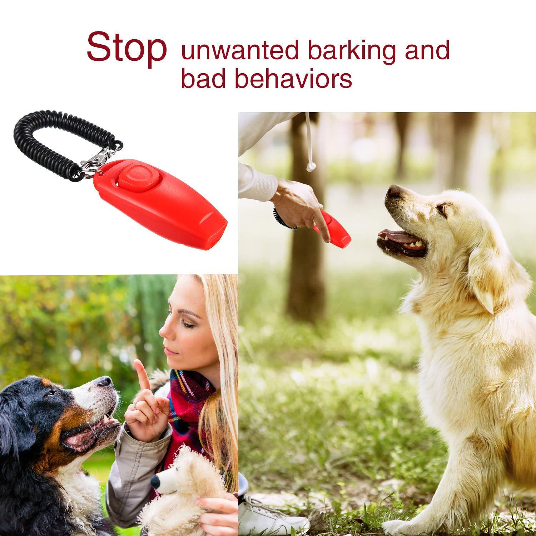 2 Pack de Clicker de Perro Silbato de Perro a Detener Ladrar Clicker de Adiestramiento de Perro de Perro 2 en 1 Herramientas de Adiestramiento de Nueva Actualizaci/ón con Correa de Silbato Negro