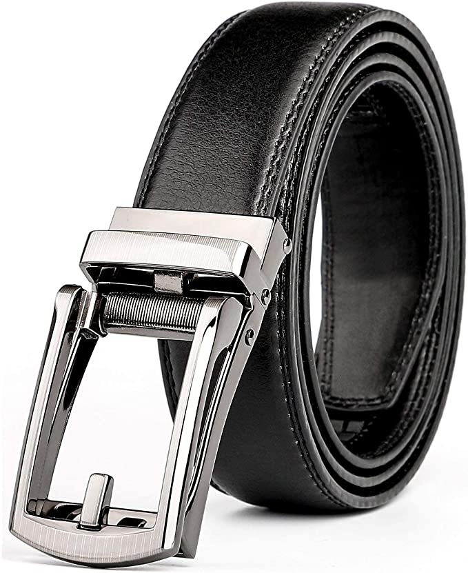 "Automatic lock Dress /& Casual belt.Fashion belt up 50/"" Real Leather Men's Belt"