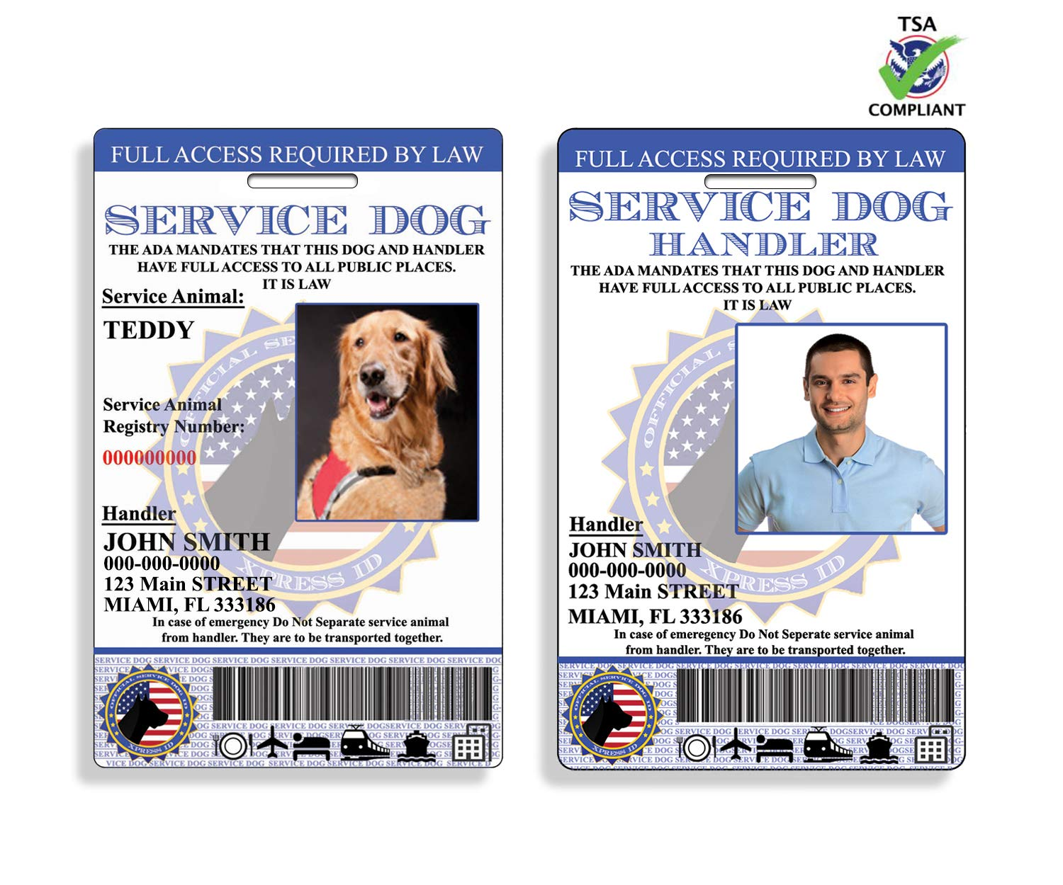 XpressID Holographic Service Dog ID and Handler ID (Custom) | Includes Registration to National Dog Registry by Xpress ID