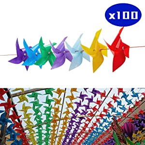 Tsocent Multi-Color Pinwheels Set (Pack of 100) - Outdoor Windmill for Yard Garden Party Decoration with Steel Cable - Toy Wind Spinners Gifts for Kids (8 Dozen Plus)