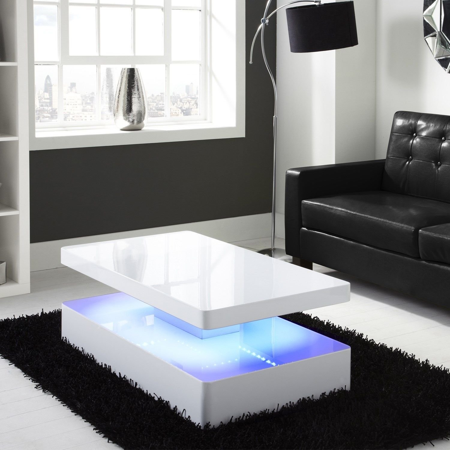 Tiffany White High Gloss Rectangular Coffee Table with LED