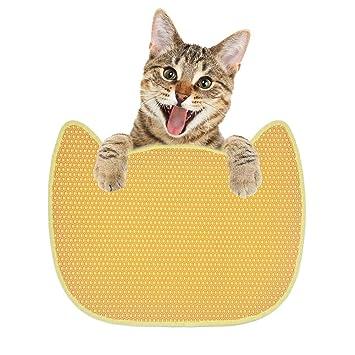 Jannyshop Alfombra Doble para Mascotas Cabeza del Gato Material EVA Alfombras de Alimentación Impermeable Beige 25.59×19.29 in: Amazon.es: Productos para ...