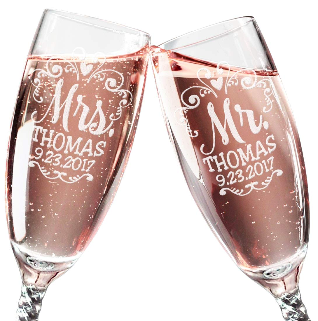 Mr Mrs Wedding Reception Celebration Twisty Stem Champagne Glasses Set of 2 Couples Newlywed Married Gift Groom Bride Husband Wife Anniversary Engraved CLEAR Flute Glass Favors (Personalized) by Custom-Engraved-Glasses-by-StockingFactory