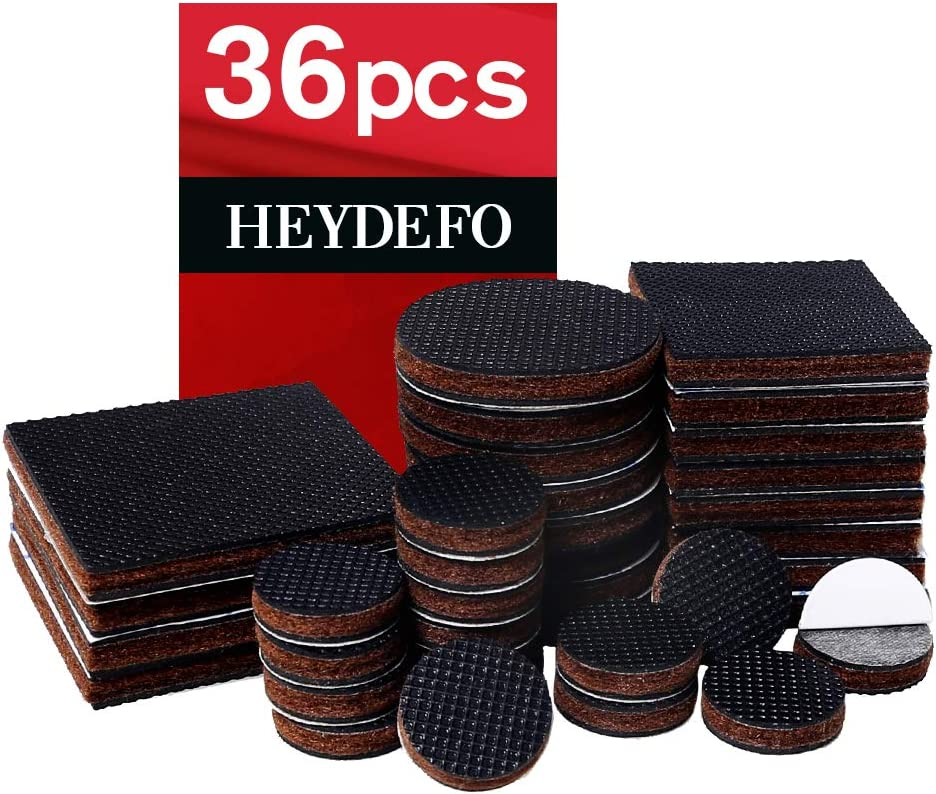 Non Slip Rubber Furniture Pads 36 Pieces Anti Skid Furniture Pads Stopper Self Adhesive Square Round Felt Pads Wood Floor Protector for Furniture(FHF6)