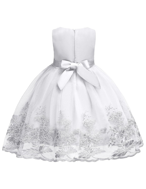 49a21c82db2 Amazon.com  Blevonh Sleeveless Chiffon Girl Dress Kids Lace 3D Flower  Wedding Party Dresses  Clothing