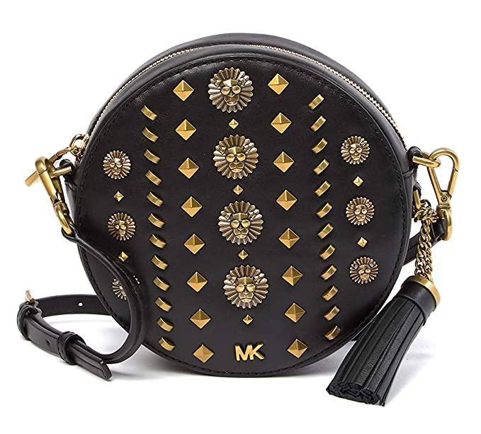 6b9cfc5377a7 Michael Michael Kors Womens Studded Black Leather Medium Round Satchel Cross -Body Hand Bag (Black): Amazon.co.uk: Clothing