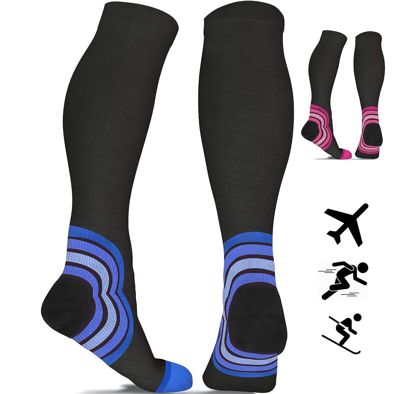 6164f83178 Flight Socks for Women & Men (20-30 mmHg) - Best Travel Compression Socks  for Flying - Travel - Pro Sports - Running - Athletics - Nurses - DVT -  Pregnancy ...