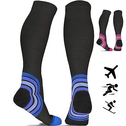 869adf9bef Compression Socks for Women & Men - 20-30 mmHg - Best Flight Compression  Stockings for Flying - Travel - Running - DVT - Skiing - Athletics - Nurses  ...