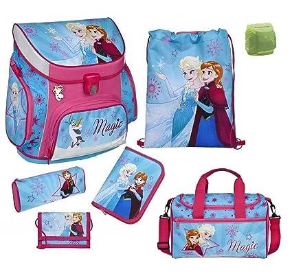 Familando Disney die Eiskönigin Schulranzen-Set 7tlg. Scooli Campus Up Frozen Magic mit Sporttasche Federmappe und Regenschut