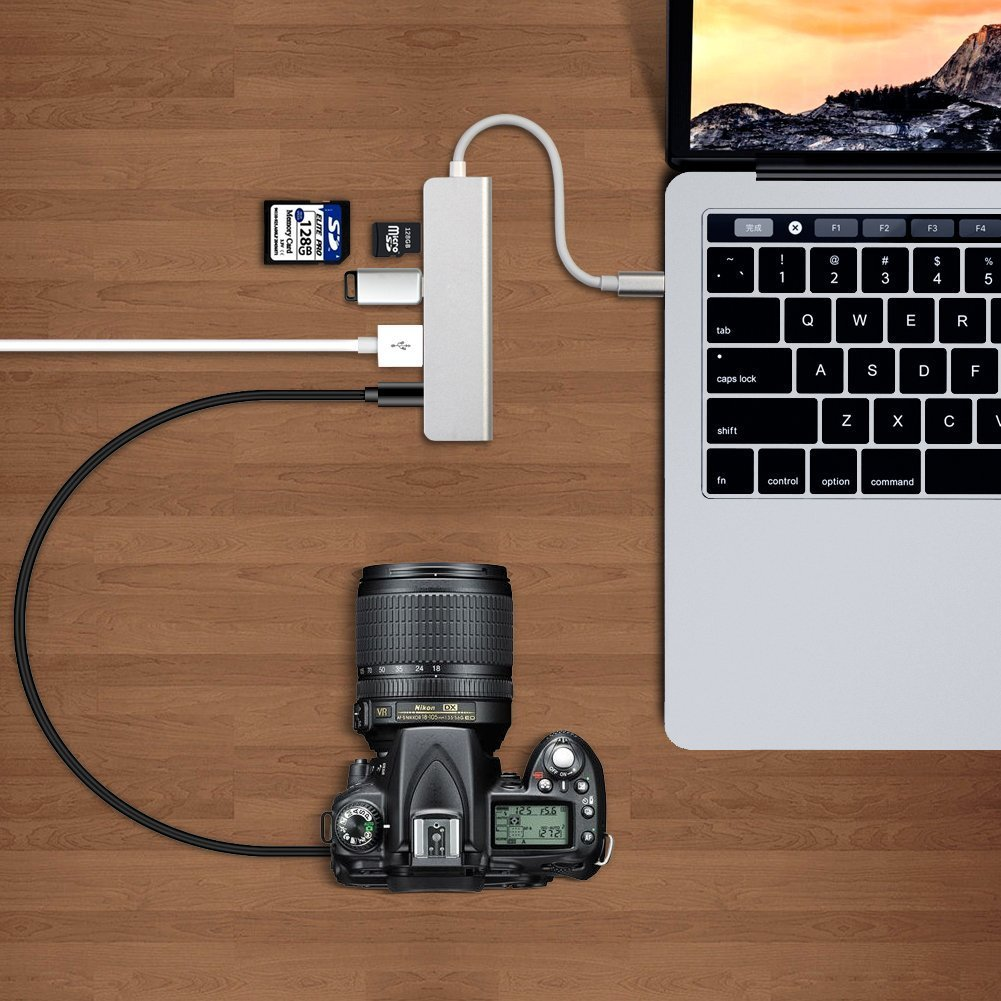 USB C Hub,ink-topoint Type-C Adapter with USB 3.1 Port,2USB 3.0 and SD/TF Card Reader,Aluminum USB C Adaptor for 2017 MacBook Pro/2017 iMac/HuaWei MateBook and more