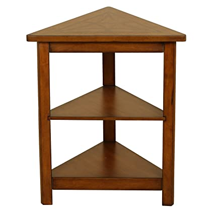 Genial Walnut Triangle Accent Table