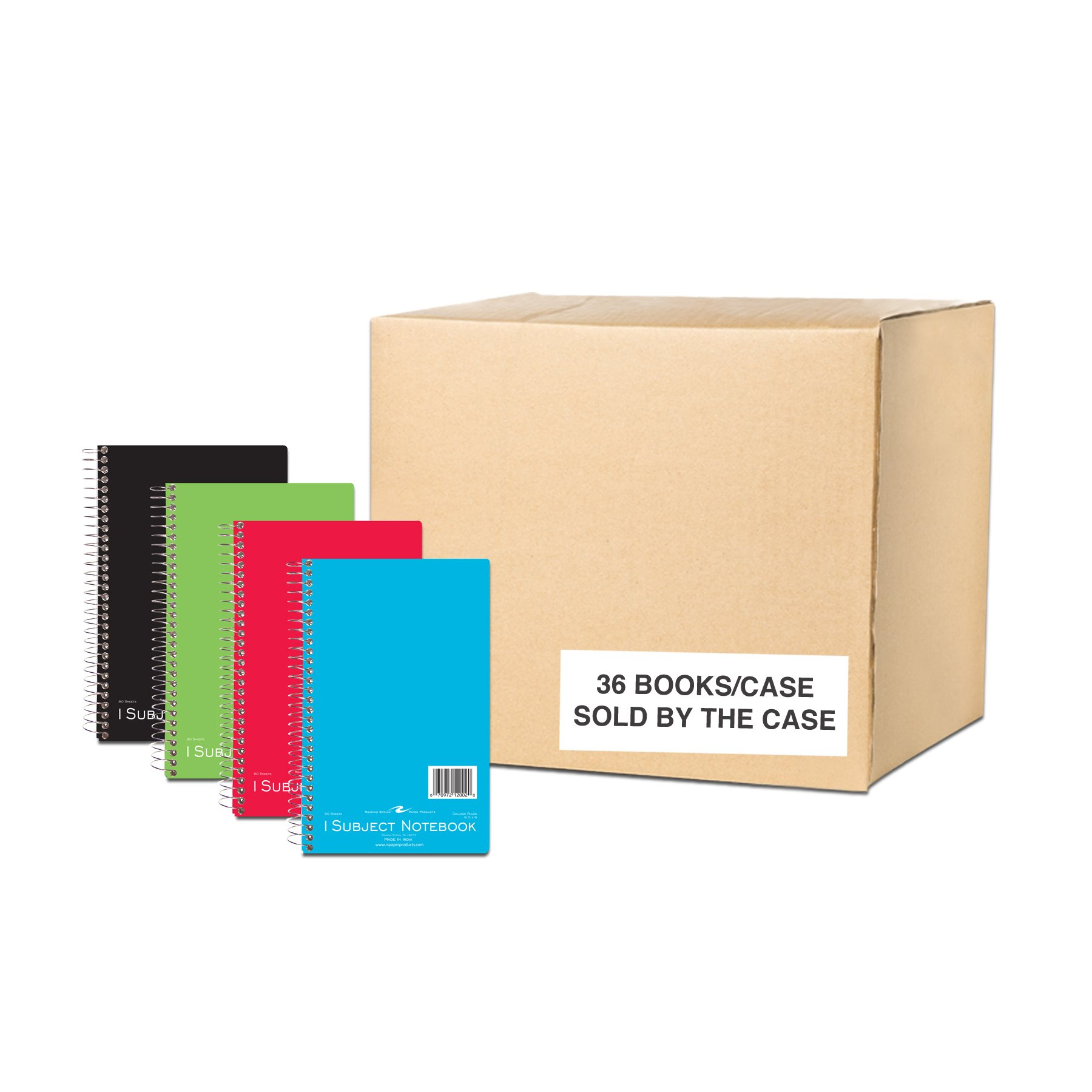 Case of 36 One Subject Wirebound Notebooks, 9.5''x6'', 80 sheets 15# White Paper, Asstd Color covers, College Ruled