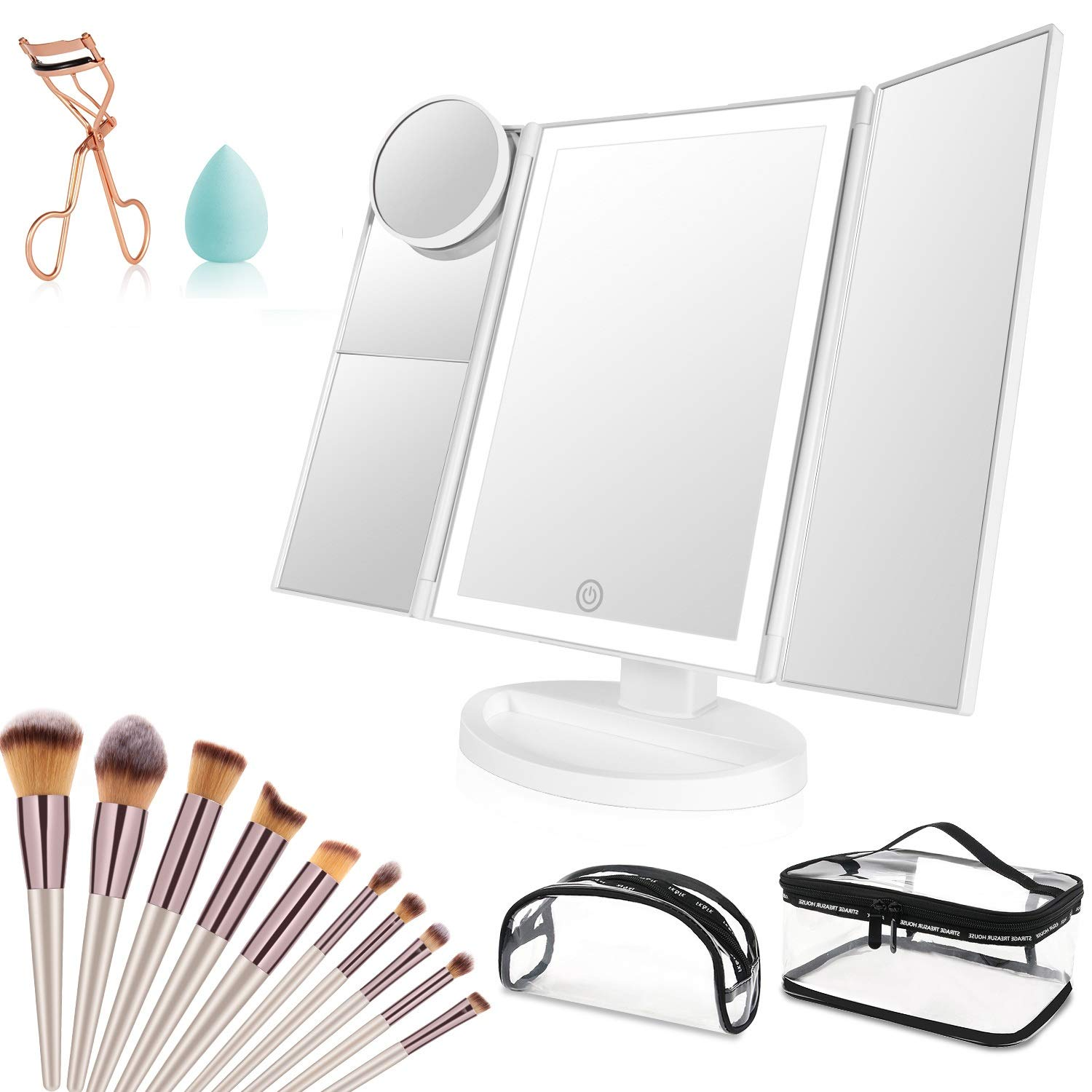 Makeup Vanity Mirror with Lights, 36 LED Trifold Cosmetic Makeup Mirror, 2x 3x 10x Magnification 180° Rotation Dual Power Supply 10 Makeup Brushes Set 1 Makeup Sponges 2 Cosmetic Bags 1 Eyelash Curler