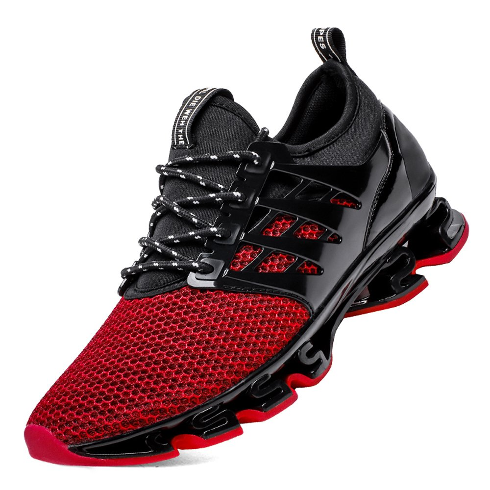 Weishan Trail Running Shoes for Men mesh Breathable Sport Shoes Slip on Travel Casual Sneakers red Size 10 (8066red45)
