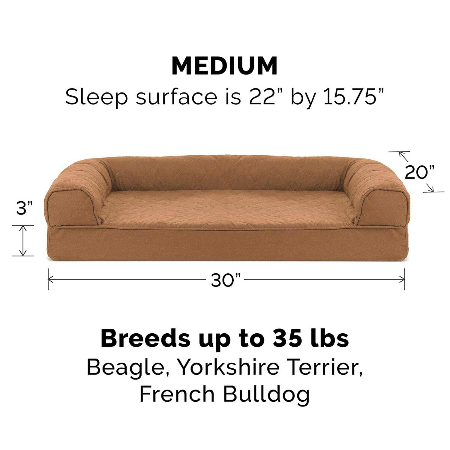 Espresso FurHaven Gel Foam Plush /& Suede Dog Couch Sofa Bed for Dogs and Cats Jumbo
