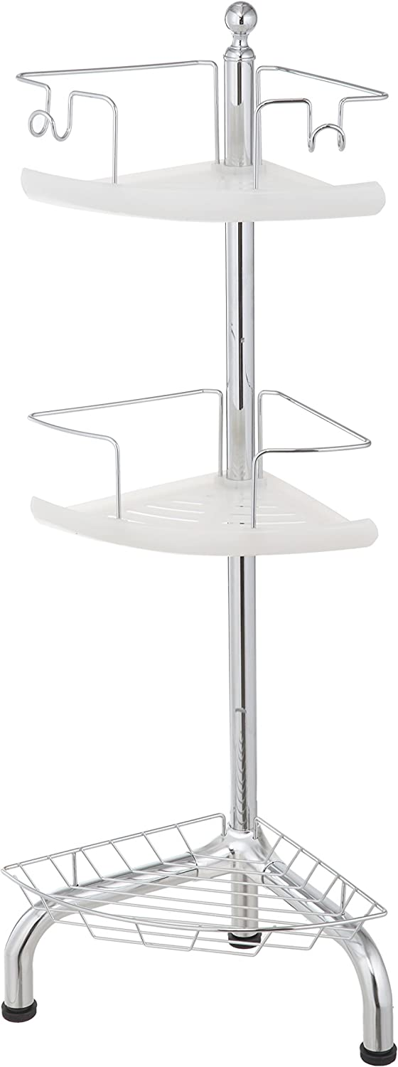 Home Zone CAE6062V 3 Tier Adjustable Corner Shower Caddy, Chrome Finish
