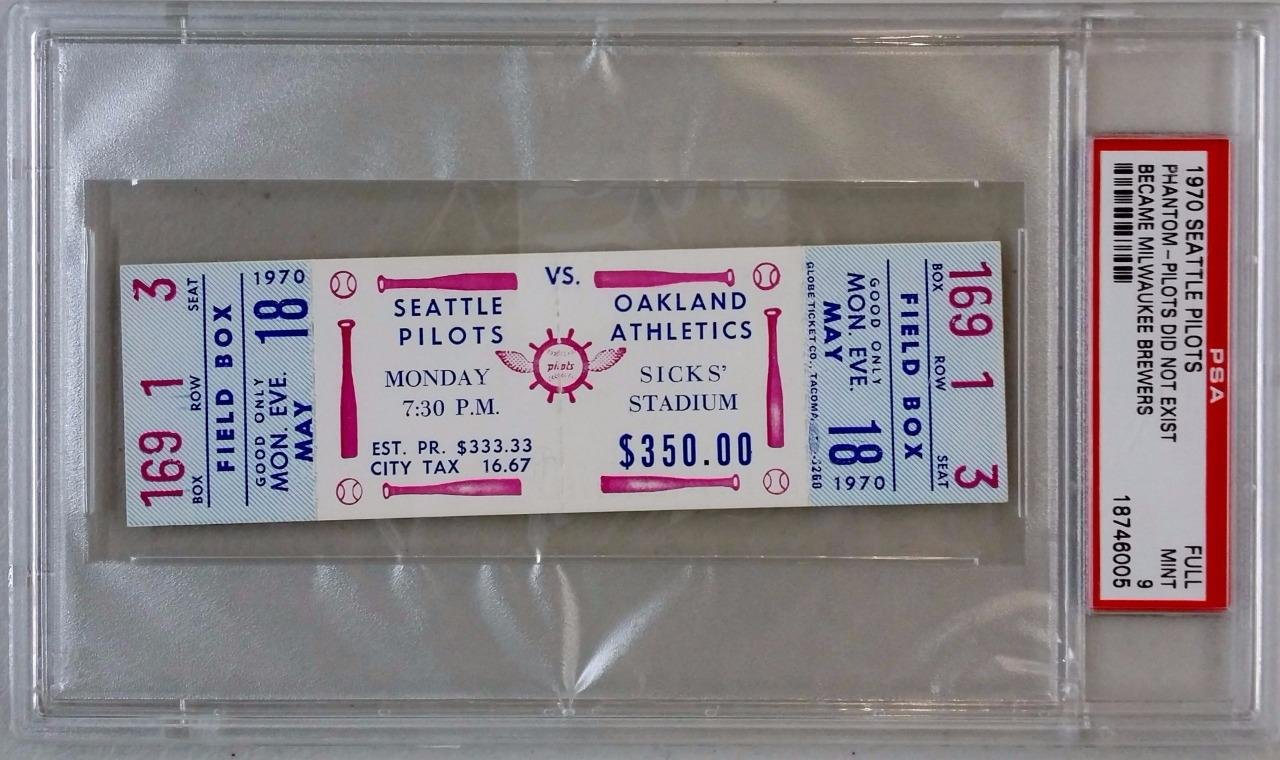 SEATTLE PILOTS vs OAKLAND A's ATHLETICS May 18, 1970 Full Unused Ticket ~ PSA 9