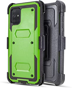 Customerfirst for Samsung Galaxy A71 5G Case [Built-in Screen Protector] Holster Belt Swivel Clip Kickstand Heavy Duty Full Body Armor Shockproof Protective Case (Green)