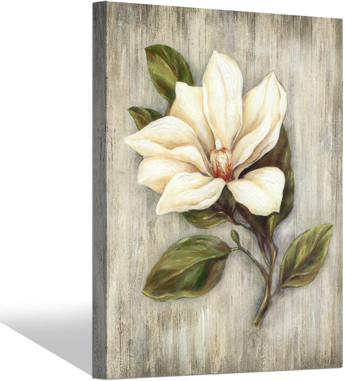 Flower Artwork Floral Canvas Painting: White Magnolia Picture Prints Wall Art for Bedroom ( 24'' x 18'' x 1 Panel )