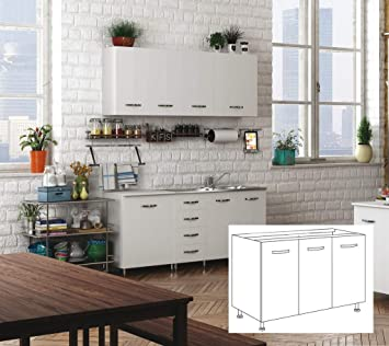 1pz Kit Cucina Base Sottolavello 3 Ante Cm 120x50x85h Bianco Amazon It Fai Da Te