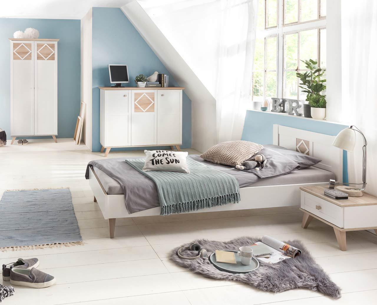 lifestyle4living Jugendzimmer, komplett-Set, Jungen, Mädchen, Jugendzimmermöbel, Kinderzimmer, Eiche sägerau-Nachbildung, alpinweiß, 2-türig, Drehtürenschrank,