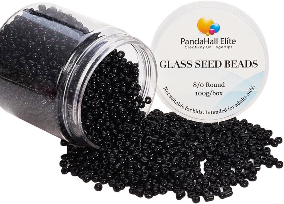 Pandahall Elite–Bote de 100g de perlas 11/0perlas de cristal, barniz al horno, colores opacos, redondo, negro, 2x 1,5mm, agujero: -0,3mm., cristal, negro, 3mm