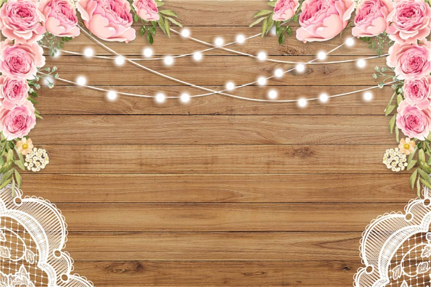 Romantic Pink Rose Flowers Light Strings White Lace Rustic Wood Plank 8x6.5ft Polyester Photography Background Girls Birthday Party Backdrop Wedding Anniversary Shoot Personal Portrait Shoot