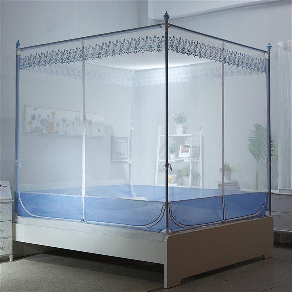 Maybesky Moskitonetz-Reißverschluss-Bett-Moskitonetz-Doppelt-Haushalts-Muster-Jurten für Das Schlafzimmer Reise Wesentliches Moskitonetze
