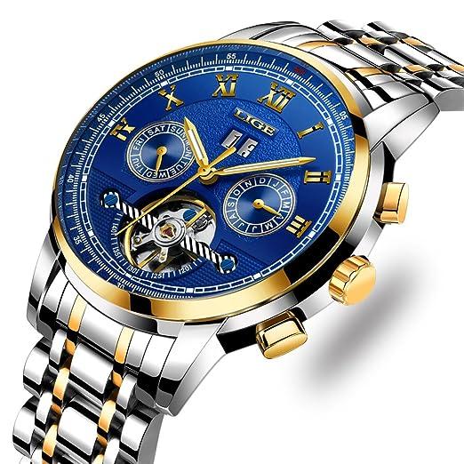 LIGE Relojes Hombre Impermeables mecánicos automáticos de Plata Acero Lujo Clásico Esqueleto Tourbillon Reloj Dial de Azul: Amazon.es: Relojes