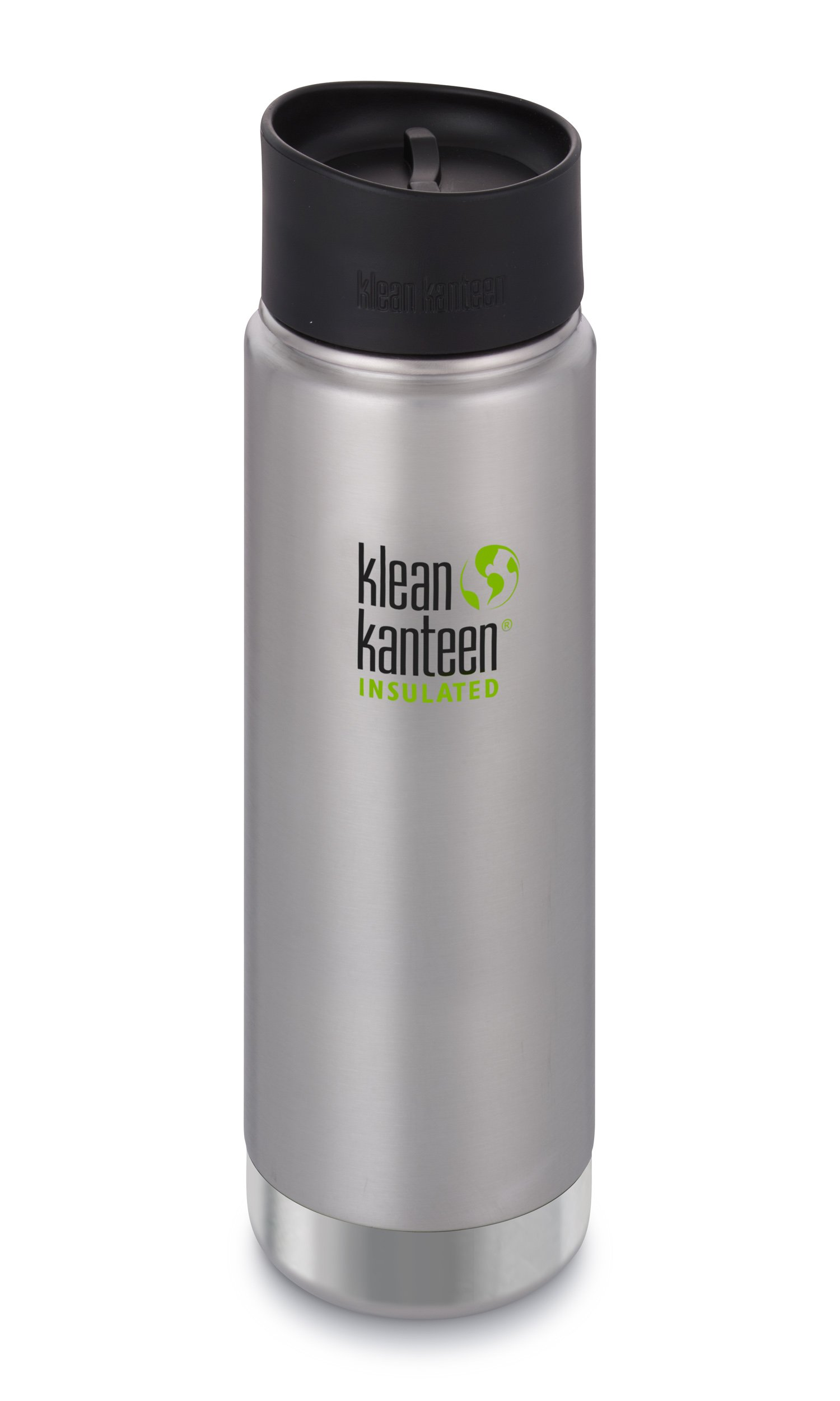 Klean Kanteen 20oz Wide Mouth Stainless Steel Coffee Mug, Double Wall Vacuum Insulated with Leak Proof Café Cap 2.0 - Brushed Stainless (New 2018)