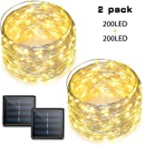 Binval Solar String Lights, 72ft 200Led, Copper Wire Led String Lights Ambiance lighting for Patio, Lawn, Garden, Landscape, Home, Wedding, Christmas Party, Xmas Tree, Waterproof (Warm White, 2-Pack)