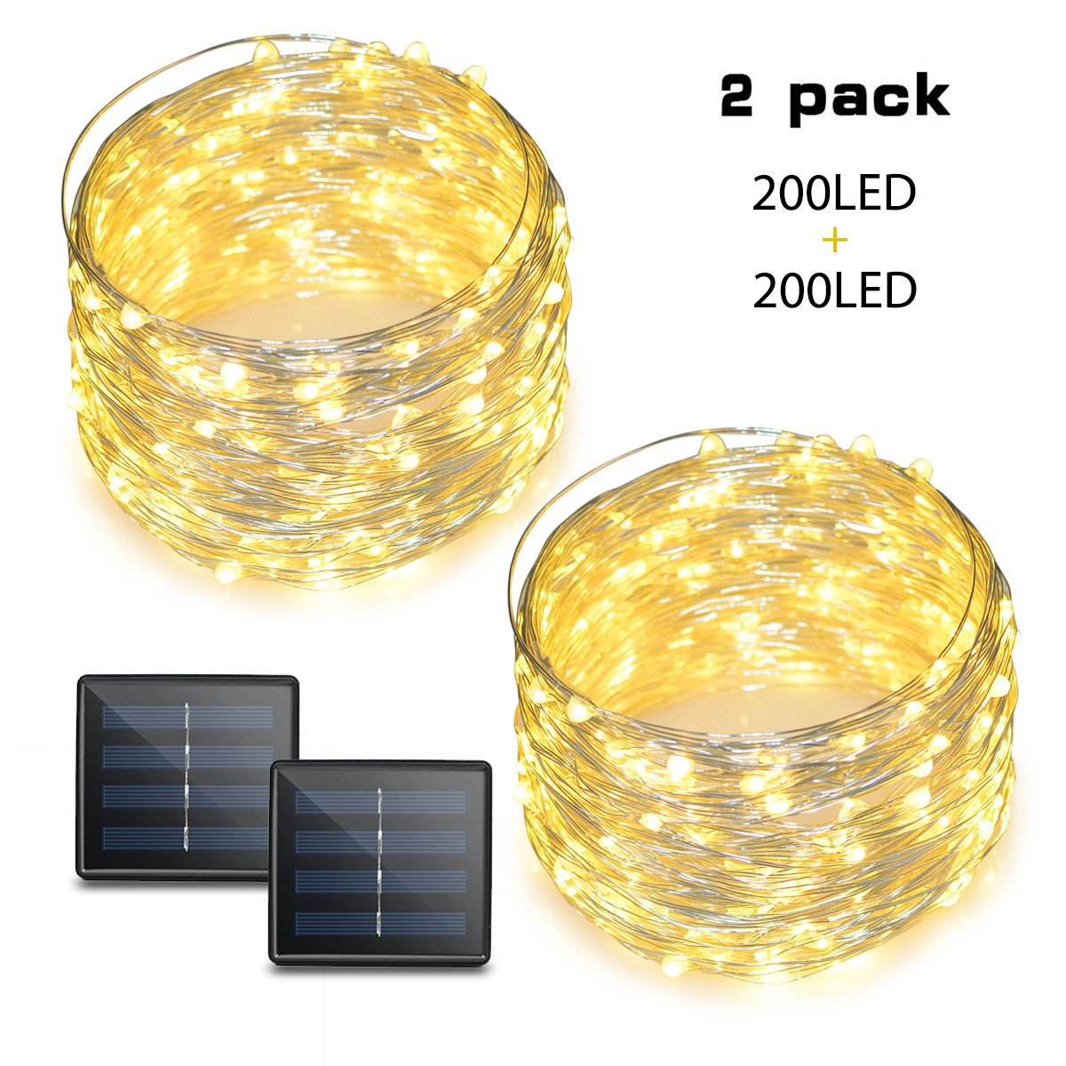 Binval Solar String Lights, 72ft 200Led, Copper Wire Led String Lights Ambiance Lighting Patio, Lawn, Garden, Landscape, Home, Wedding, Christmas Party, Xmas Tree, Waterproof (Warm White, 2-Pack) by Binval