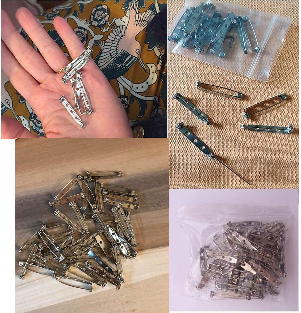 RONRONS 200 Pieces 32mm Silver Tone Pin Back Clasp Brooch Pin Backs Bar Pins Findings with 3 Holes for Craft Projects,Jewelry Making
