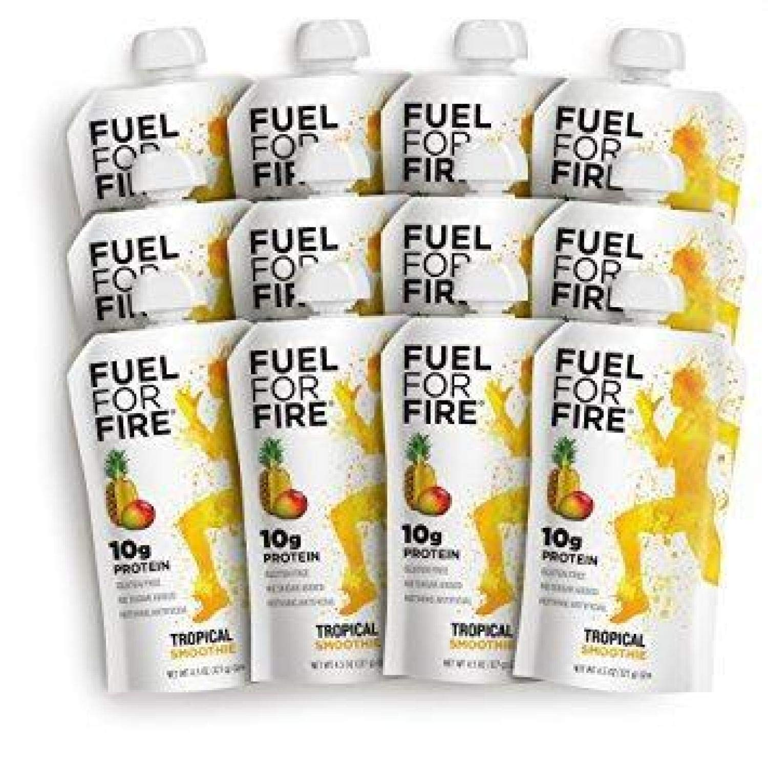 Fuel For Fire - Tropical (12 Pack) Fruit & Protein Smoothie Squeeze Pouch | Perfect for Workouts, Kids, Snacking - Gluten-Free, Soy-Free, Kosher (4.5 ounce pouches) by FUEL FOR FIRE