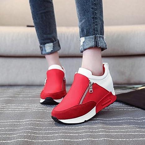 Botas, Manadlian Zapatillas de deporte de mujer Deportes Correr Senderismo Zapatos de plataforma de fondo grueso (EU:36, Rojo): Amazon.es: Electrónica
