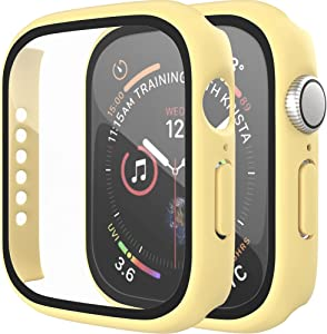 [2 Pack] D & K Exclusives Compatible with Apple Watch 42mm Case, Full Coverage Bumper Protective Case with Screen Protector for Men Women iWatch Series 3/2/1, Yellow